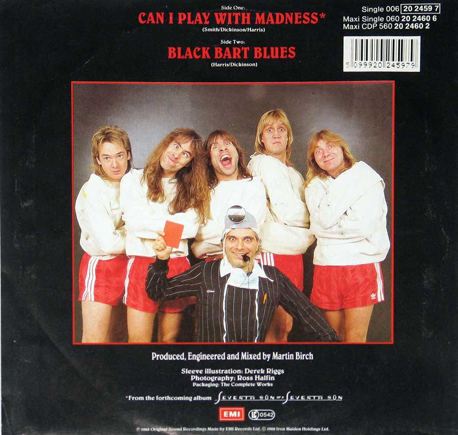 "IRON MAIDEN - Can I Play with Madness / Black Bart Blues 7"" Picture Sleeve Single   back cover"
