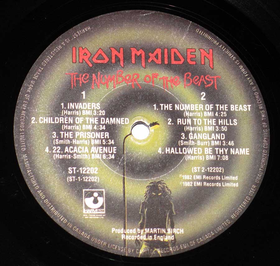 "Close-up of the Harvest / EMI Record label of the Canadian release of ""The Number of the Beast"" by ""Iron Maiden"""