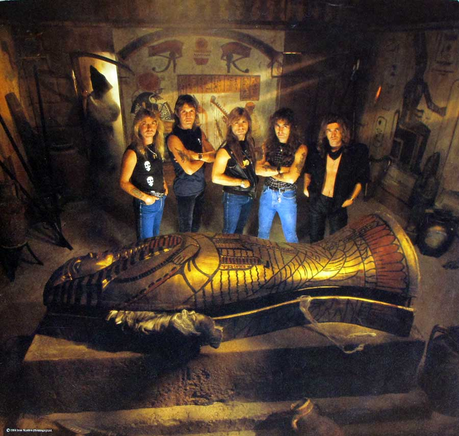 Full-page photo of the IRON MAIDEN band