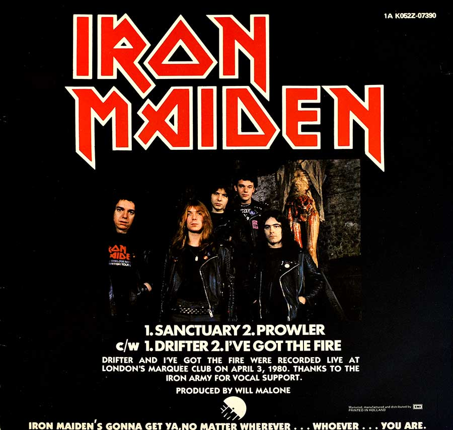 "IRON MAIDEN - Sanctuary Netherlands 12"" EP VINYL Record  back cover"