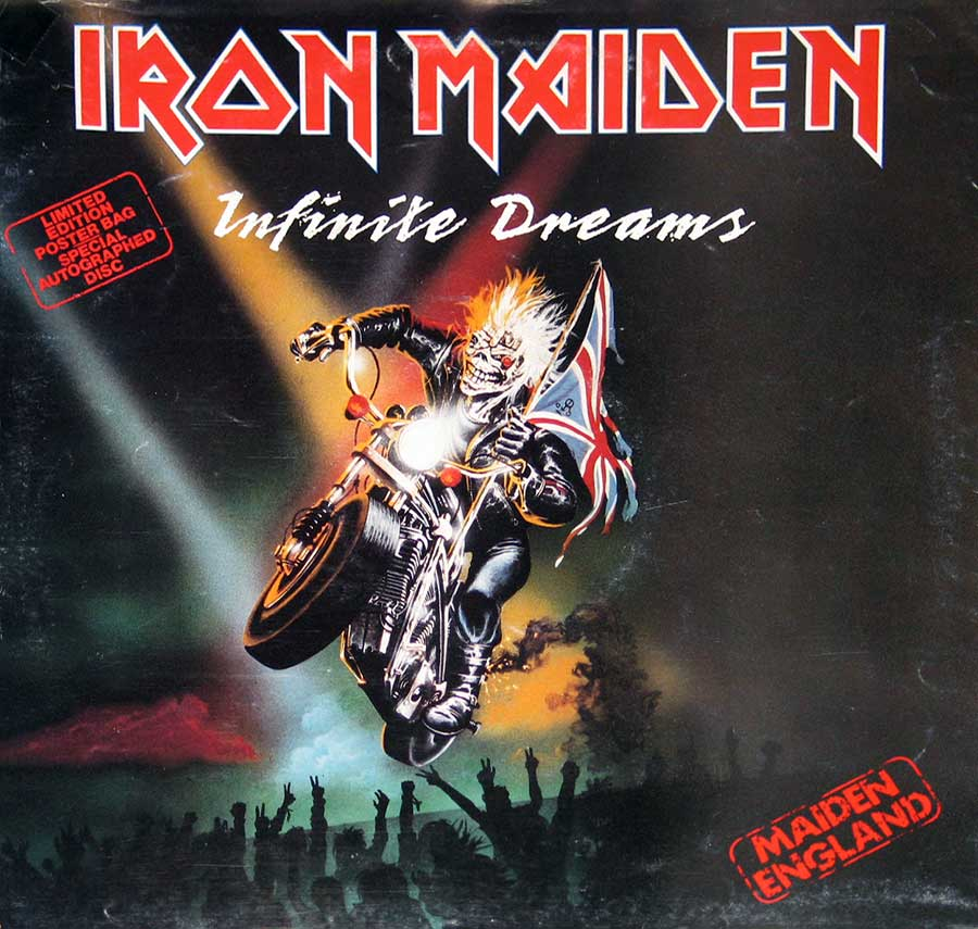 Front Cover Photo Of IRON MAIDEN Infinite Dreams Autographed Disc Poster Bag
