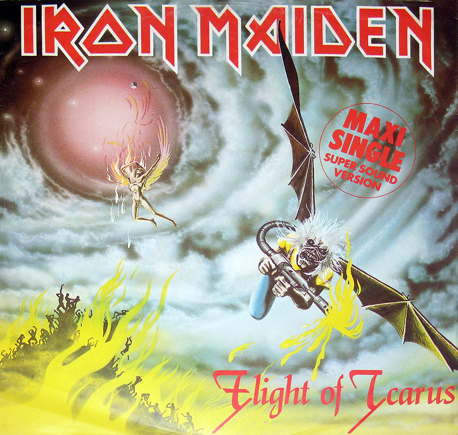 "IRON MAIDEN - Flight of Icarus 12"" Maxi Single  front cover https://vinyl-records.nl"