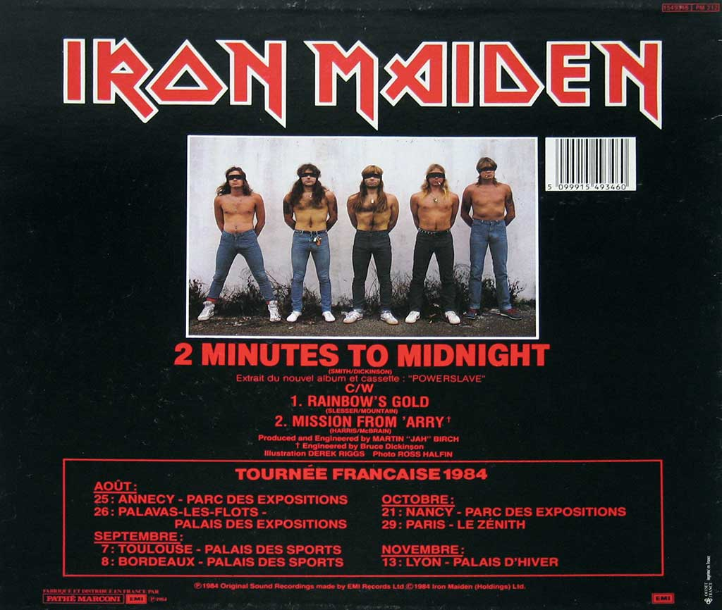 Back cover of 2 Minutes 2 Midnight with a photo of the blind-folded band-members.