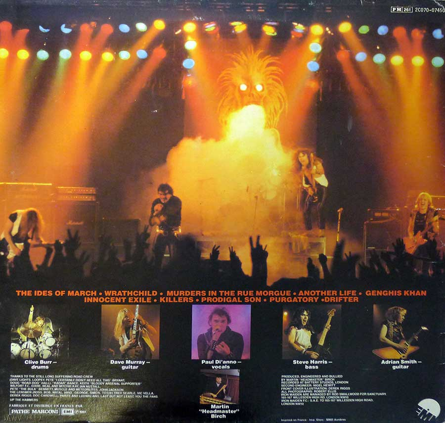 "IRON MAIDEN - Killers France Release 12"" LP ALBUM VINYL  album back cover"