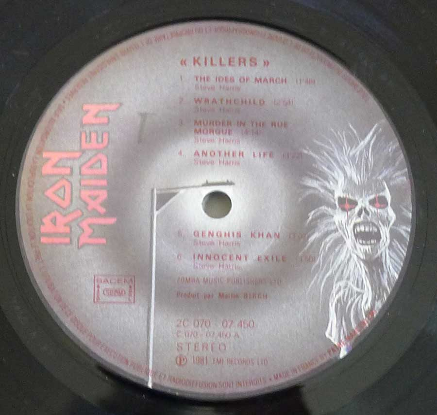 "IRON MAIDEN - Killers France Release 12"" LP ALBUM VINYL  enlarged record label"