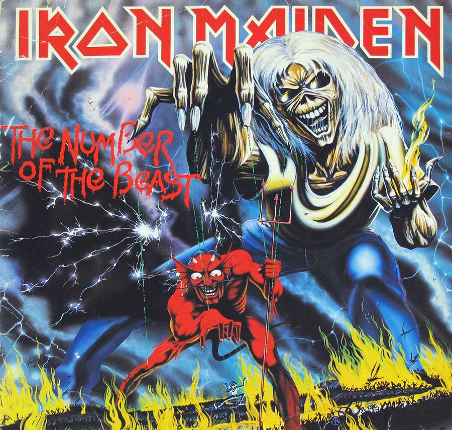 "IRON MAIDEN - Number Of The Beast France 12"" LP VINYL Album front cover https://vinyl-records.nl"