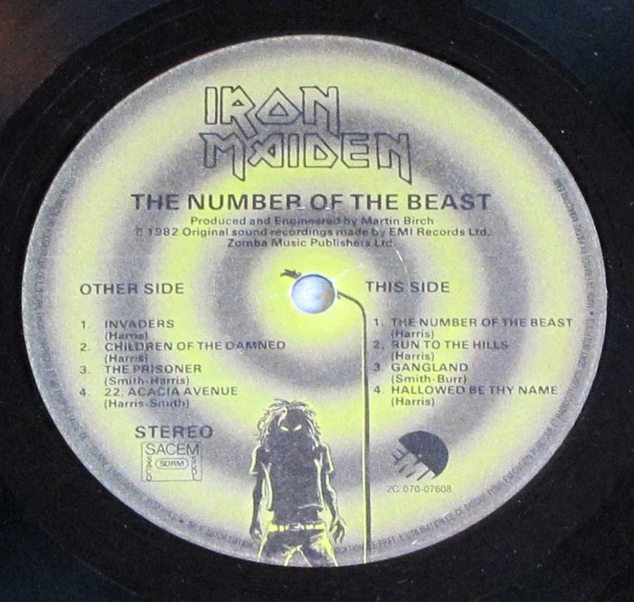 "IRON MAIDEN - Number Of The Beast France 12"" LP VINYL Album enlarged record label"