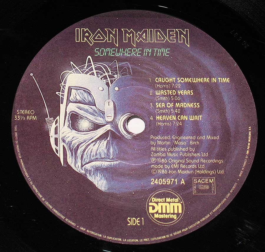 "IRON MAiDEN - Somewhere In Time France 12"" Vinyl LP Album enlarged record label"
