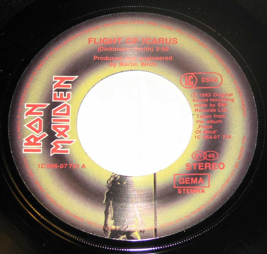 "IRON MAIDEN Flight of Icarus / I've Got The Fire Germany 7"" Single Vinyl enlarged record label"