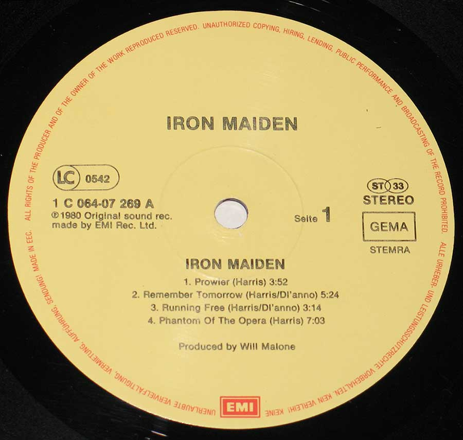 "IRON MAIDEN - Self-Titled Germany Fame 12"" VINYL LP ALBUM enlarged record label"