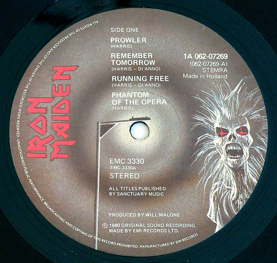 """IRON MAIDEN ( Self-Titled )"" Record Label Details: 1A 062-07269, STEMRA, Made in Holland, EMC 3330 ℗ 1980 Original Sound Recording Made by EMI Records LTD Sound Copyright"
