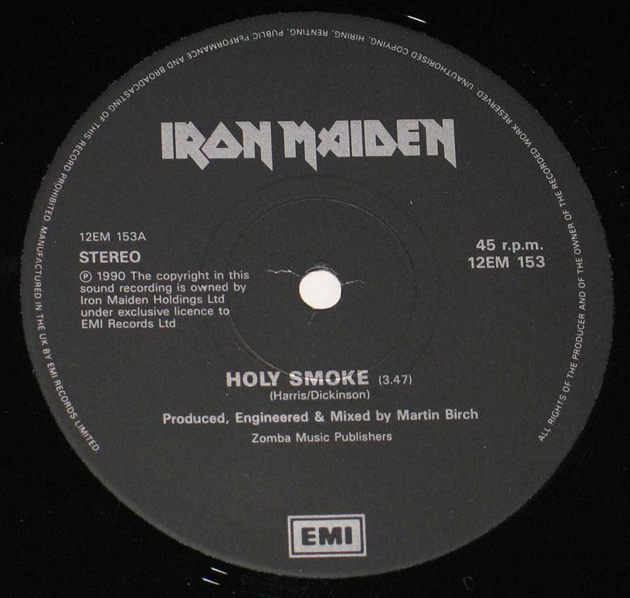 "IRON MAIDEN - Holy Smoke + Giant Poster 12"" MAXI SINGLE Vinyl enlarged record label"