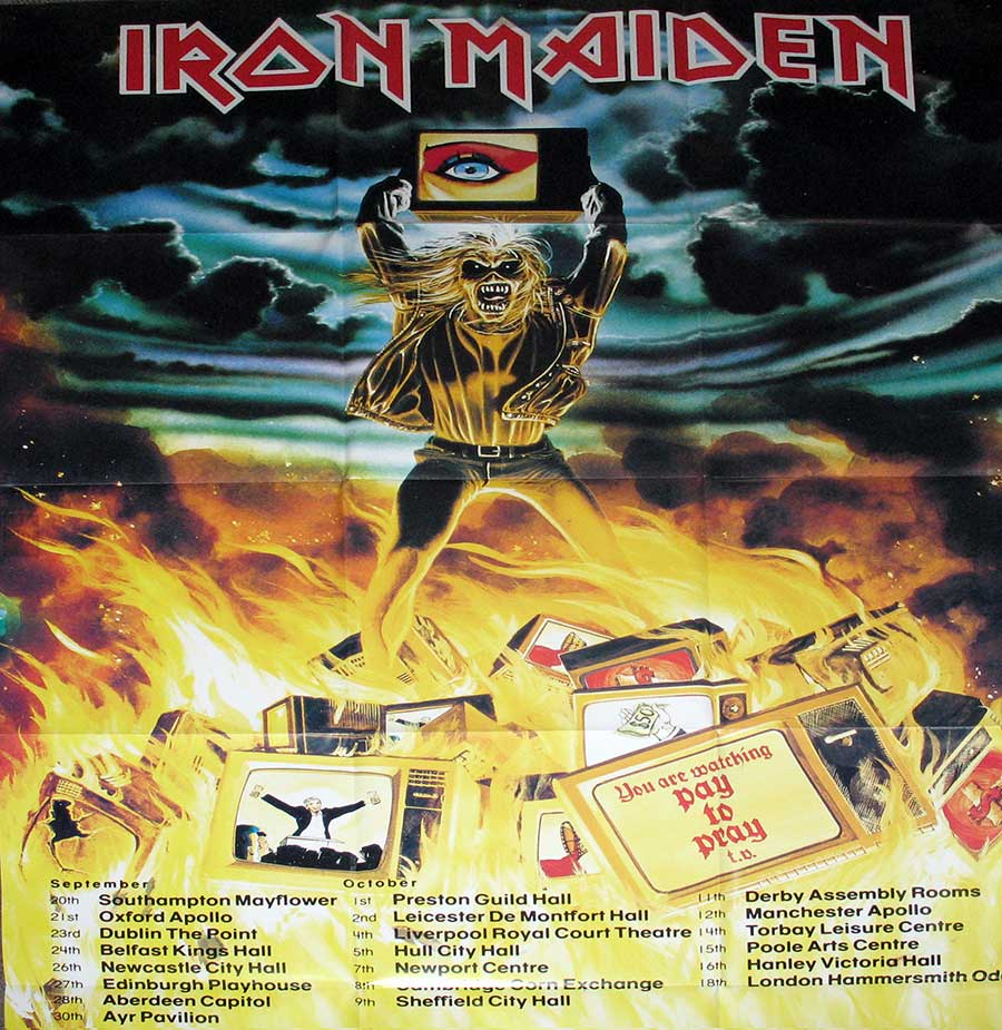 "Photo of the poster included with IRON MAIDEN - Holy Smoke 12"" MAXI SINGLE Vinyl"