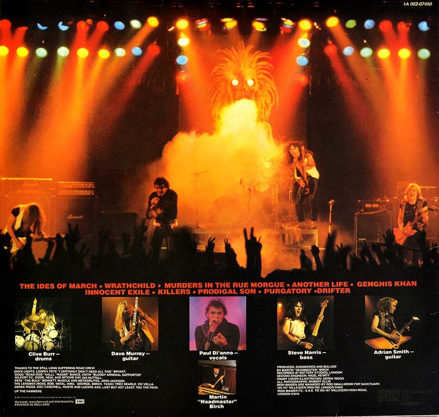 "IRON MAIDEN - Killers Netherlands 12"" LP ALBUM VINYL back cover"