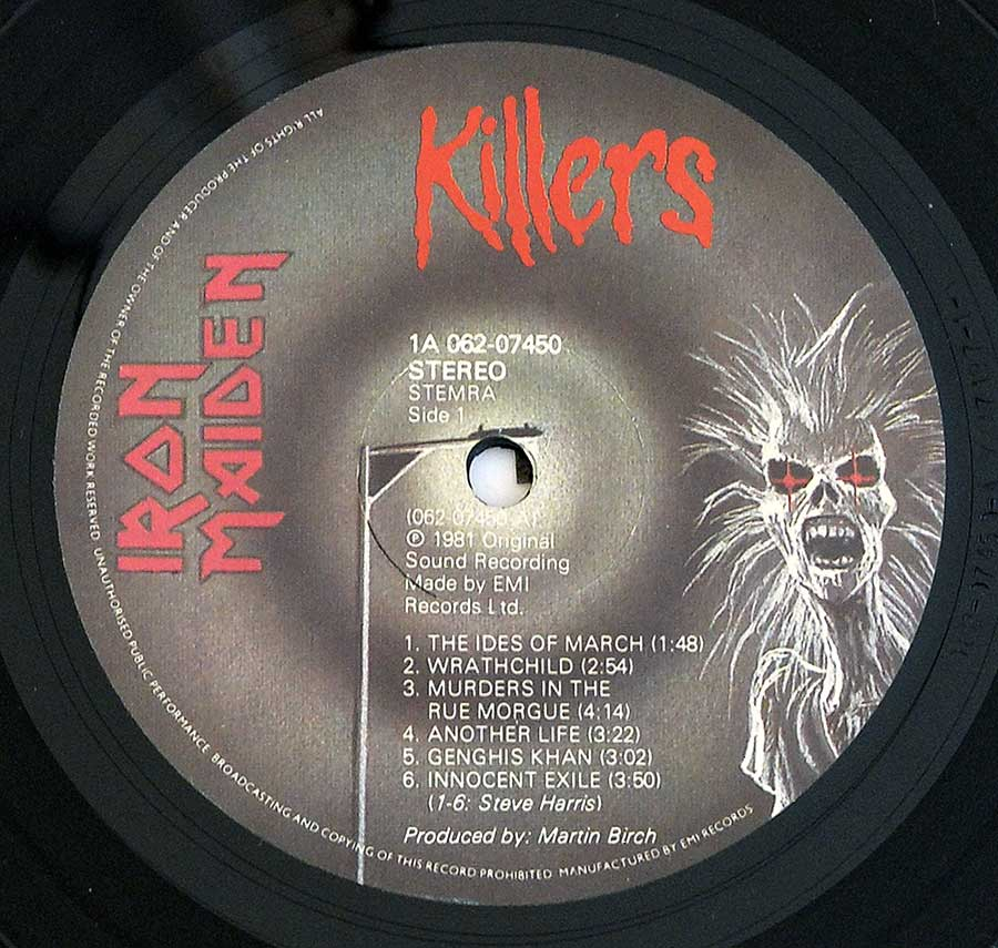 """Killers"" Record Label Details: EMI 1A 062-07450"