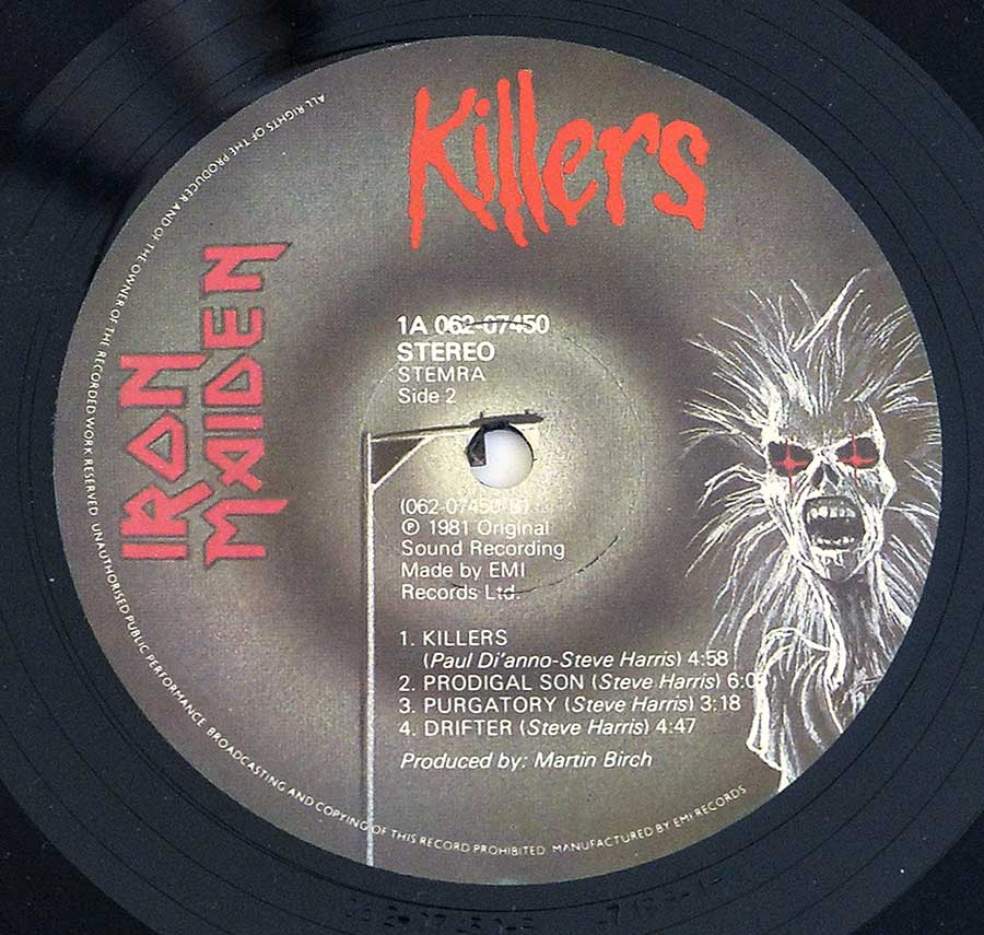 "IRON MAIDEN - Killers Netherlands 12"" LP ALBUM VINYL enlarged record label"