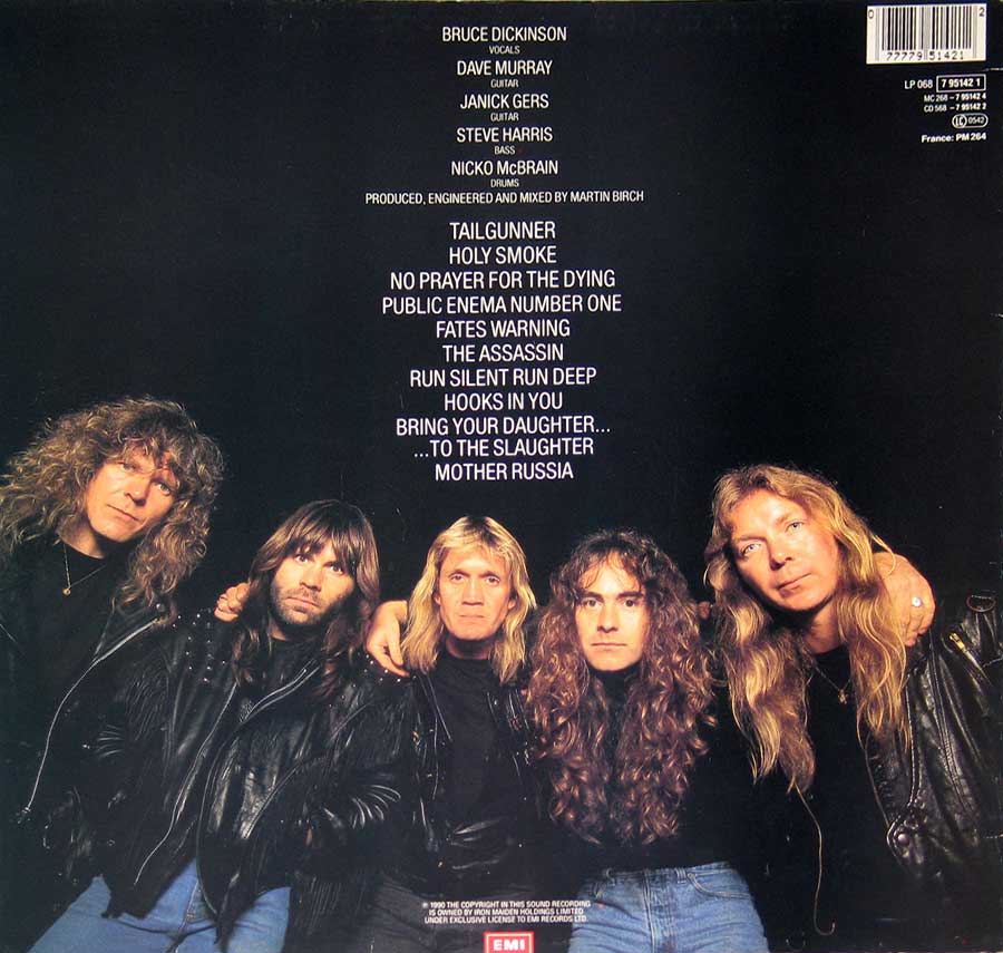 Photo of album back cover IRON MAIDEN - No Prayer For The Dying ( EEC )