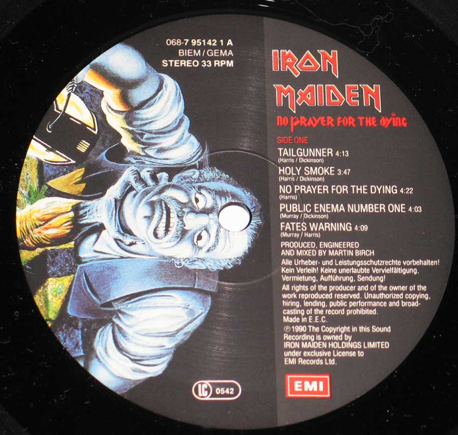 Close up of Side One IRON MAIDEN - No Prayer For The Dying ( EEC )