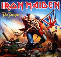 "Thumbnail Of  IRON MAIDEN - The Trooper / Another Life 7"" Single Blue vinyl + Poster  album front cover"