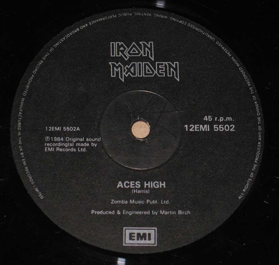 "Close up of record's label IRON MAIDEN - Aces High UK Maxi 12"" Vinyl  Side One"