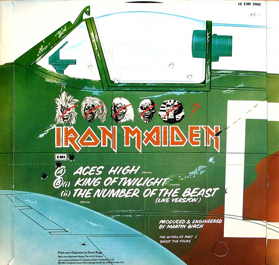 "Photo of album back cover IRON MAIDEN - Aces High UK Maxi 12"" Vinyl"