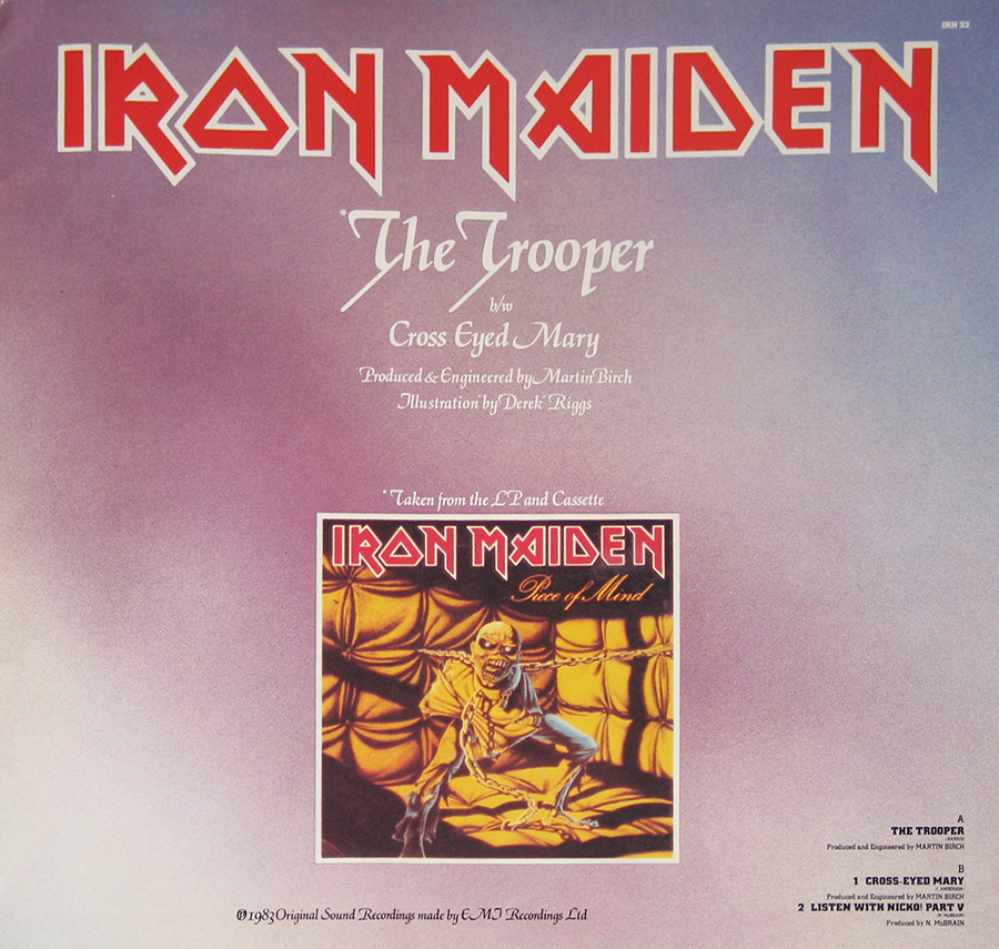 Photo One Of The Original Custom Inner Sleeve IRON MAIDEN - The Trooper First Ten Years