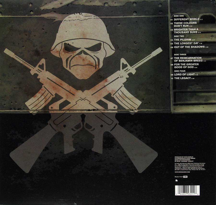 IRON MAIDEN - A Matter Of Life And Death 2LP PICTURE DISC back cover