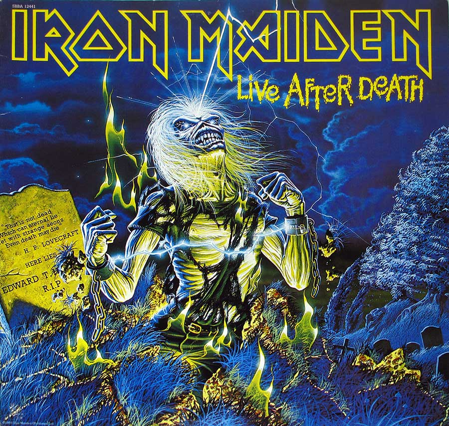 IRON MAIDEN - LIVE AFTER DEATH Usa Release 2LP + Booklet vinyl Album front cover https://vinyl-records.nl