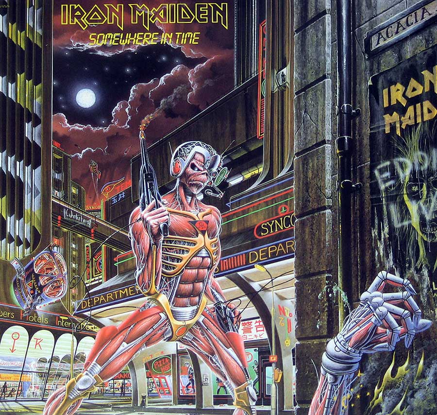 "Front Cover Photo Of IRON MAIDEN - Somewhere in Time USA 12"" Vinyl LP Album"