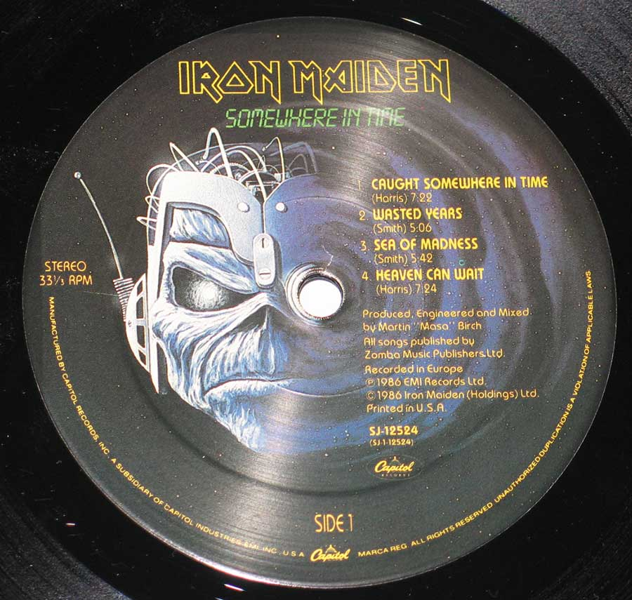 "Close up of record's label IRON MAIDEN - Somewhere in Time USA 12"" Vinyl LP Album Side One"