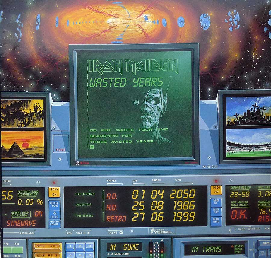 "IRON MAIDEN - Wasted Years 12"" Maxi-Single  album front cover"