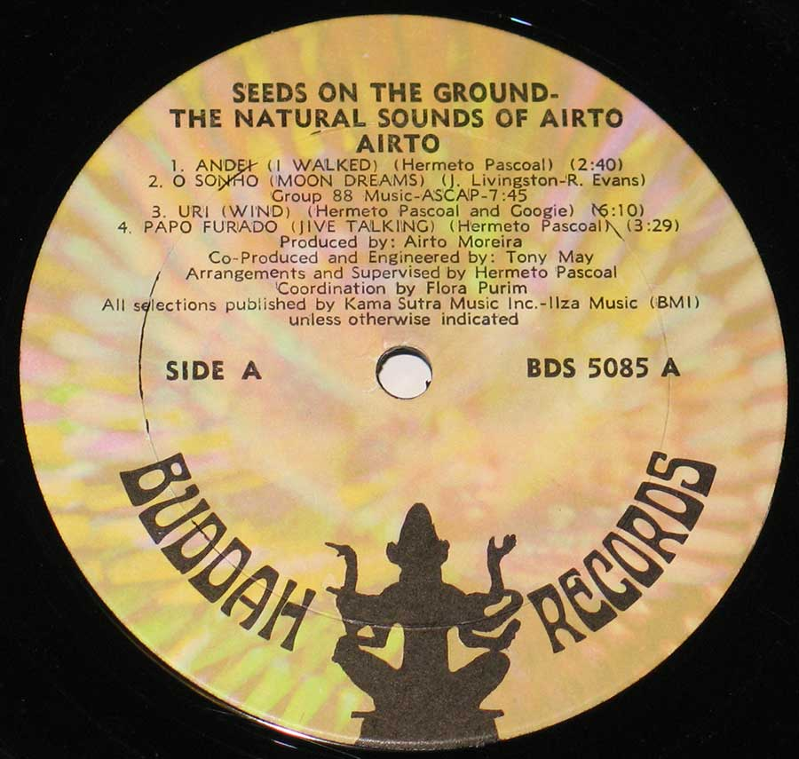 Photo of record label of AIRTO - Seeds on the Ground the Natural Sounds of Airto