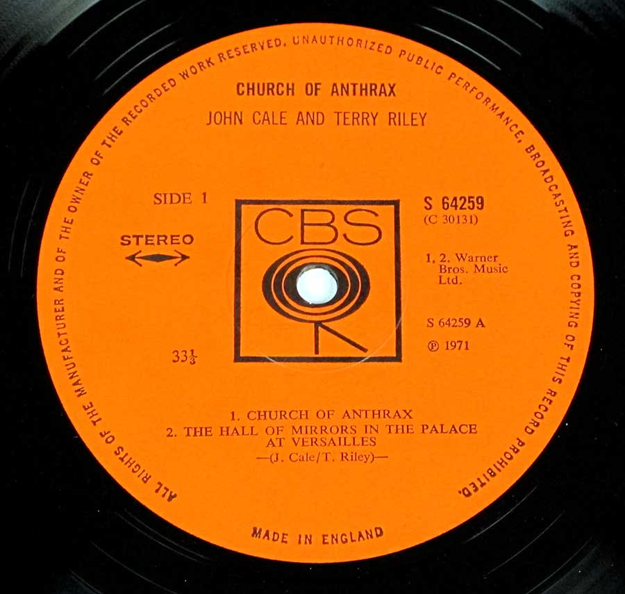 """Church of Anthrax"" Orange Colour CBS with Walking Eye around center-hole Record Label Details: CBS 64259 / C 3013 ℗ 191 Sound Copyright"