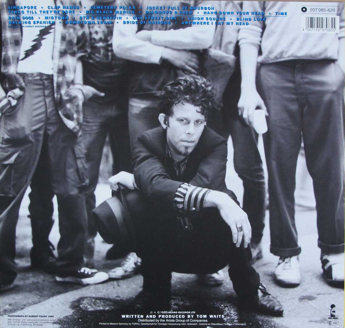 "Album Back Cover  Photo of ""TOM WAITS - Rain Dogs"""