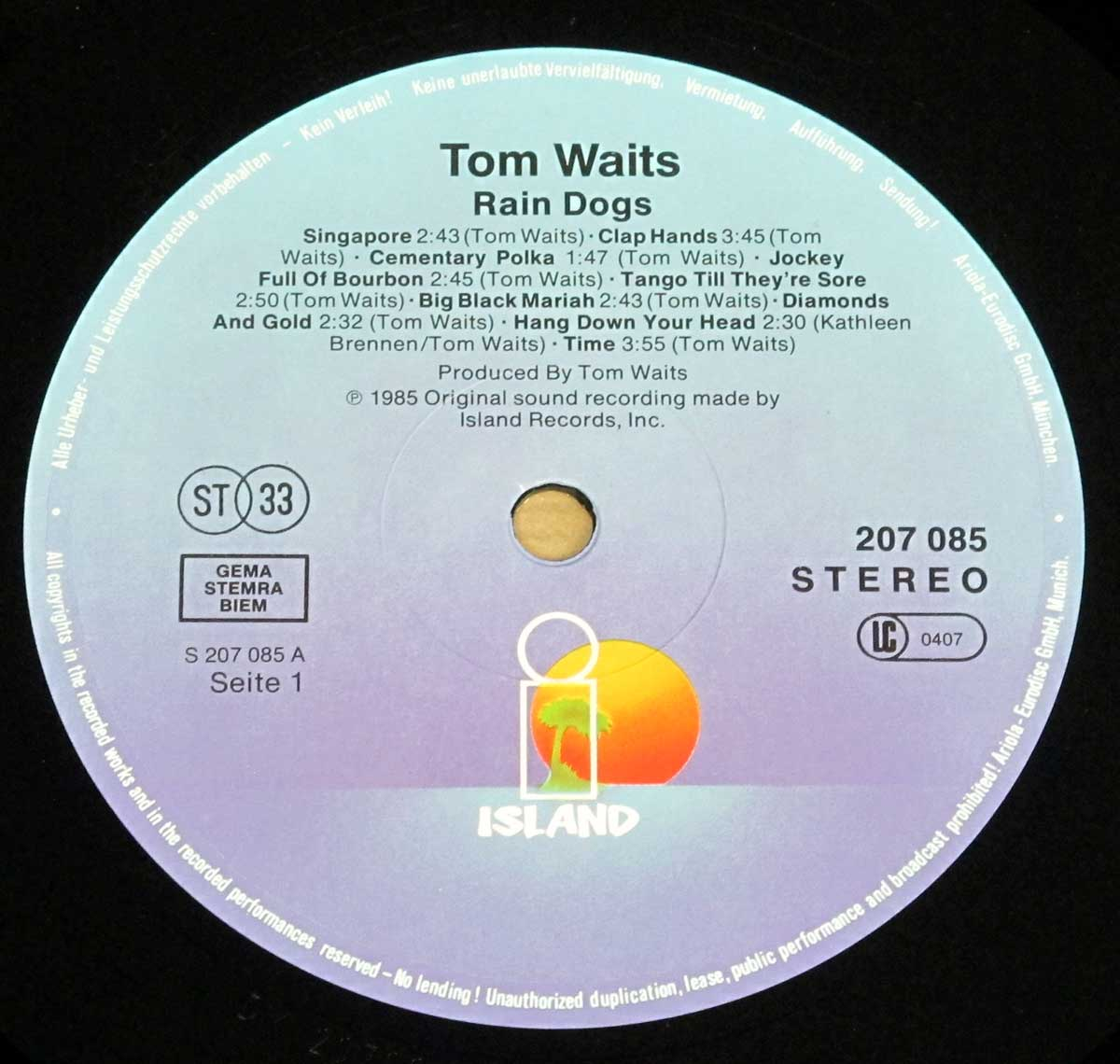 "Close-up Photo of ""TOM WAITS - Rain Dogs"" Record Label"