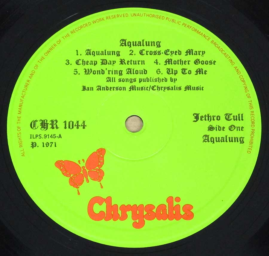 Aqualung Green Colour with Orange Letering and Orange Butterfly Logo CHRYSALIS CHR 1044 , ILPS 9145 ℗ 1971 Sound Copyright
