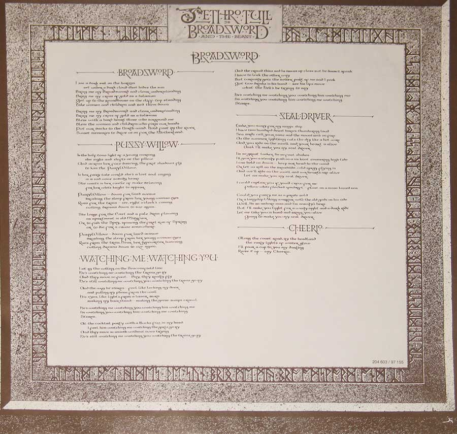 "Jethro Tull - Broadsword & the Beast European Release 12"" Vinyl LP   custom inner sleeve"