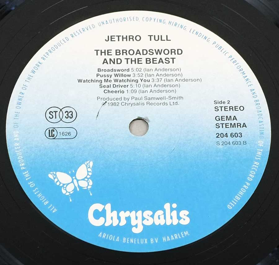 "Close up of record's label JETHRO TULL Broadsword And The Beast Germany/Netherlands 12"" LP ALBUM VINYL  Side Two"