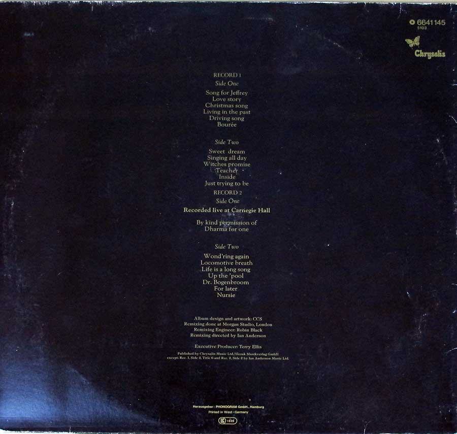 "Photo of album back cover JETHRO TULL Living In The Past Germany Chrysalis Gatefold 12"" 2LP VINYL ALBUM"
