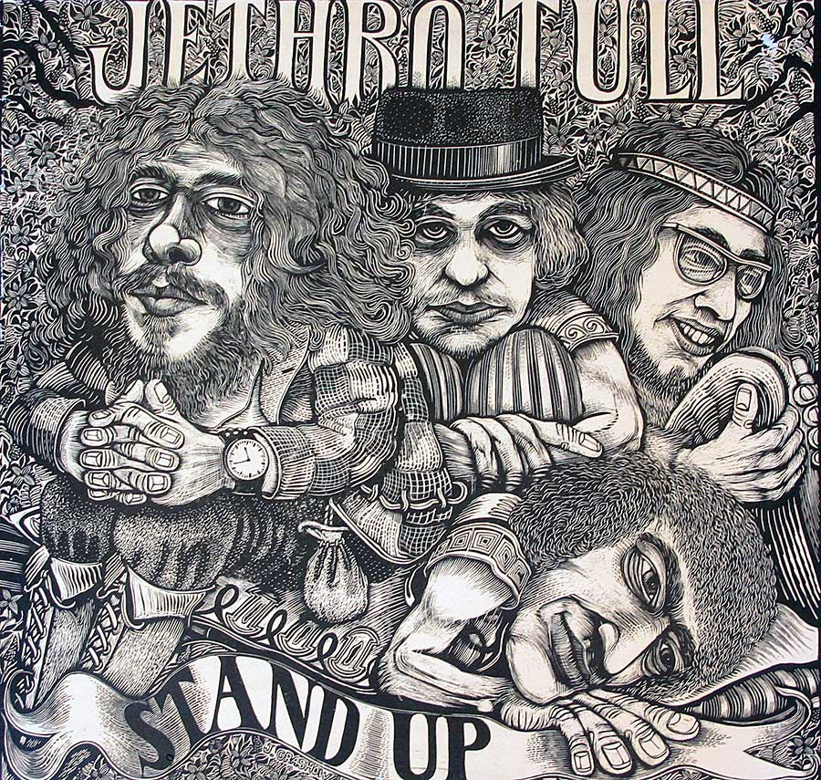 "Front Cover Photo Of JETHRO TULL - Stand Up Pop-Up Gimmick Gatefold England Green Chrysalis Label 12"" Vinyl LP ALbum"