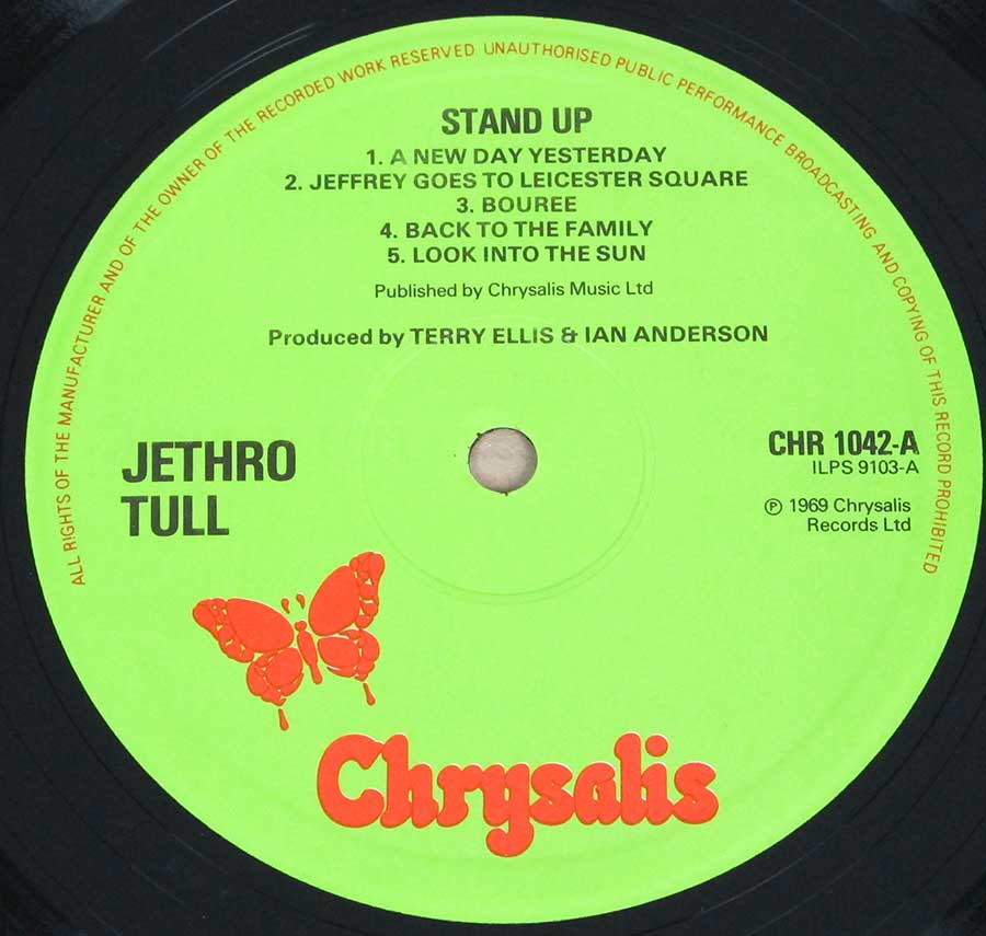 "Close up of record's label JETHRO TULL - Stand Up Pop-Up Gimmick Gatefold England Green Chrysalis Label 12"" Vinyl LP ALbum Side One"