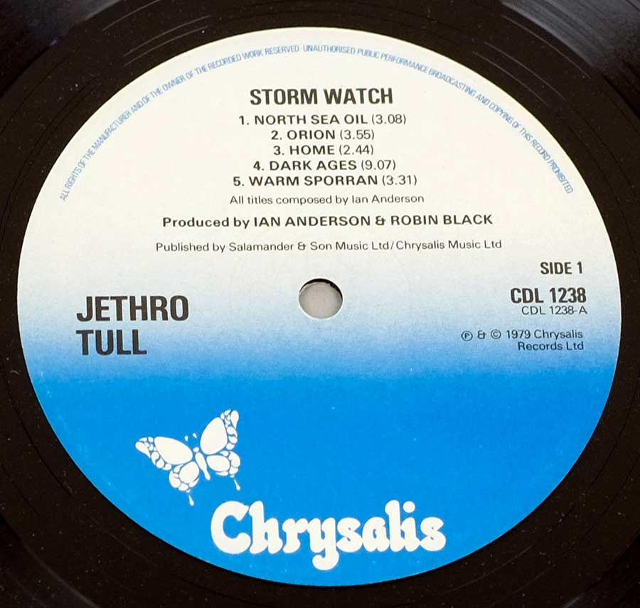 Close up of record's label JETHRO TULL - Storm Watch ( UK ) Side One