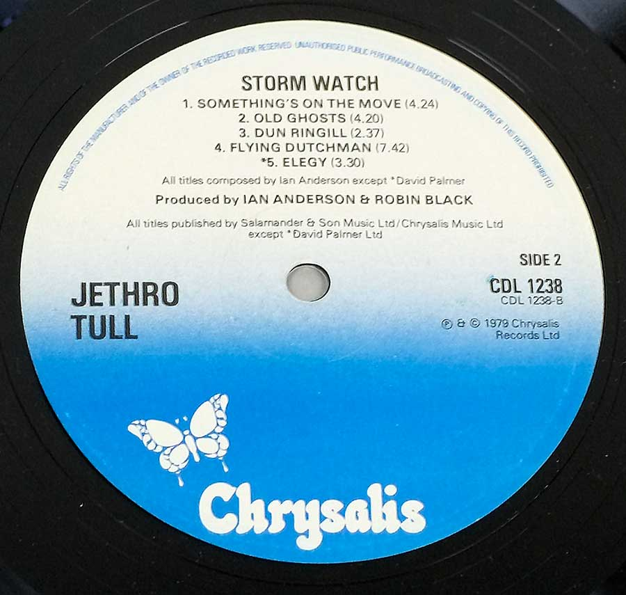 Close up of record's label JETHRO TULL - Storm Watch ( UK ) Side Two