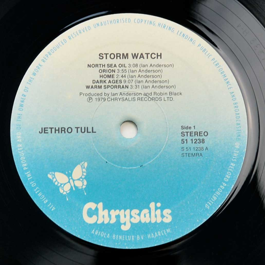 Close up of record's label JETHRO TULL - Storm Watch ( Netherlands Release ) Side One