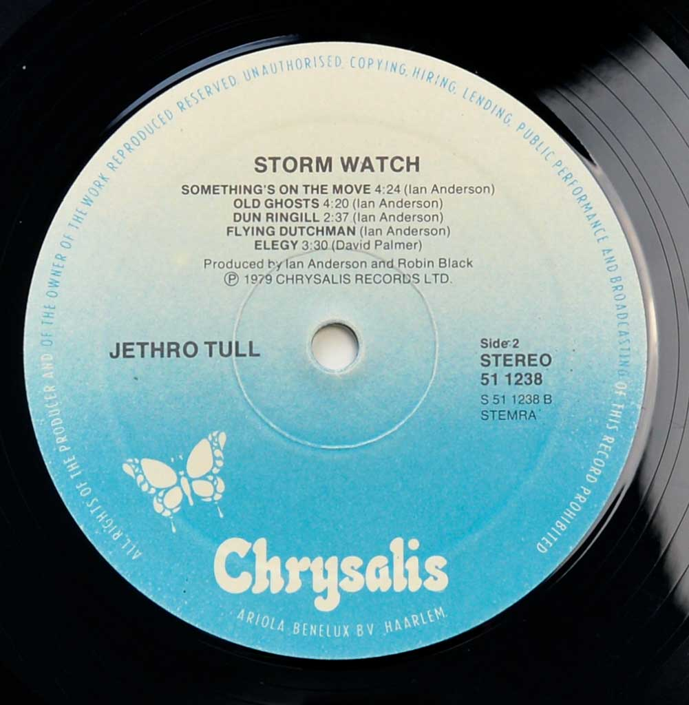 Close up of record's label JETHRO TULL - Storm Watch ( Netherlands Release ) Side Two