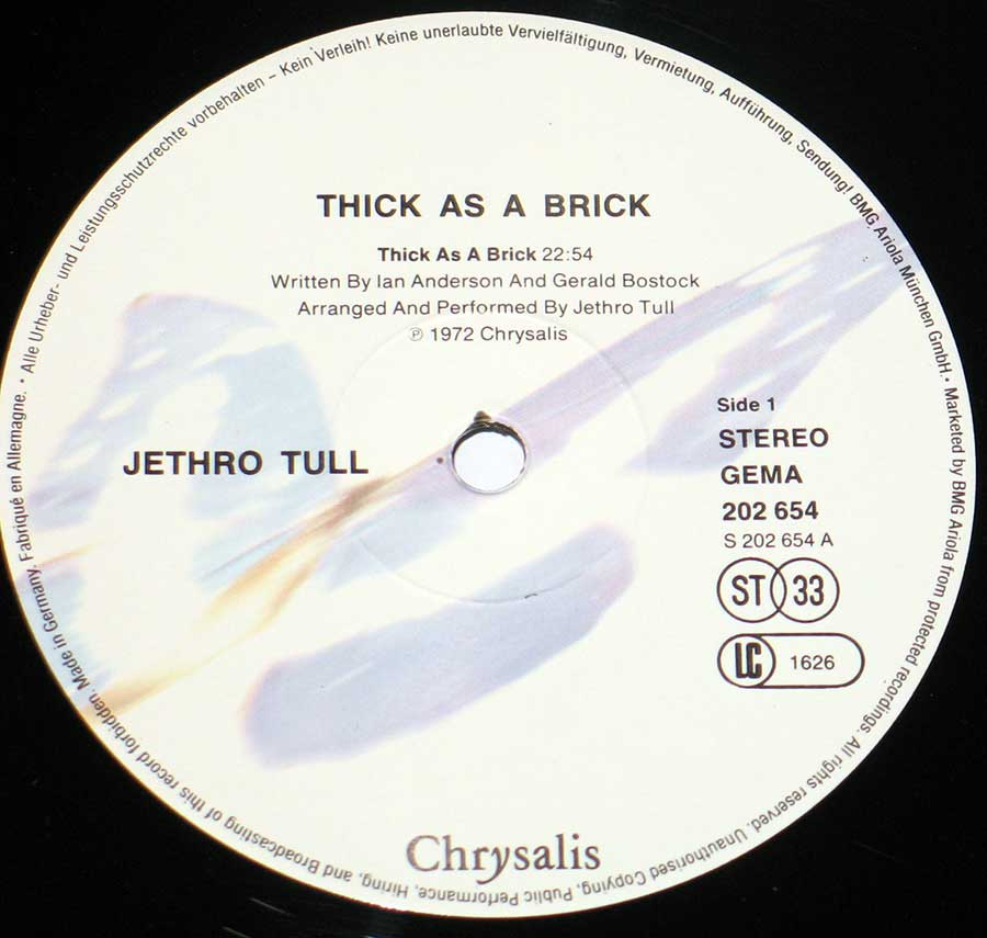 Close up of record's label JETHRO TULL - Thick as a Brick ( Germany ) Side One