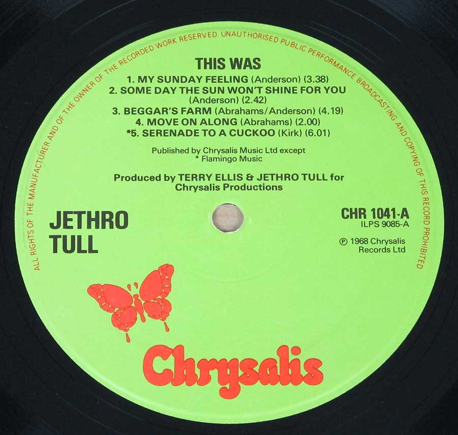 "Close up of record's label JETHRO TULL - This Was UK England Gatefold Cover 12"" LP Vinyl Album Side One"