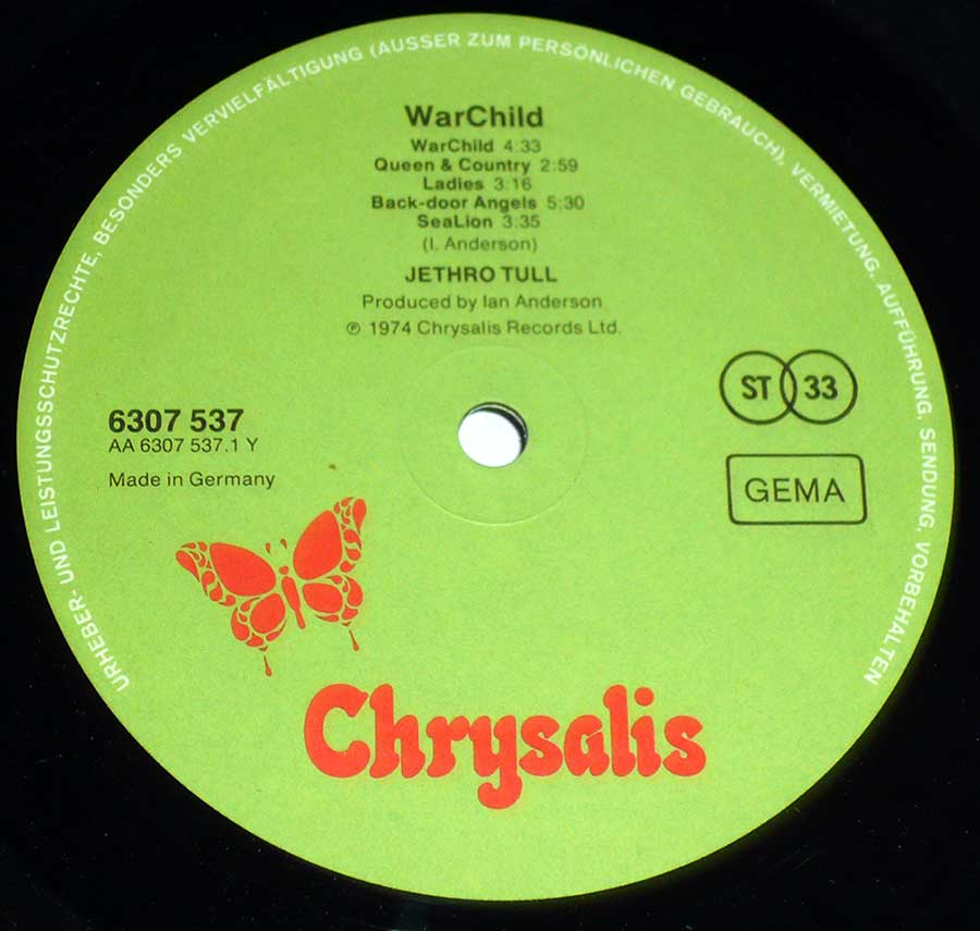 """WarChild"" Record Label Details: Green Colour with Orange Butterfly 6307 537 , Made un Germany"