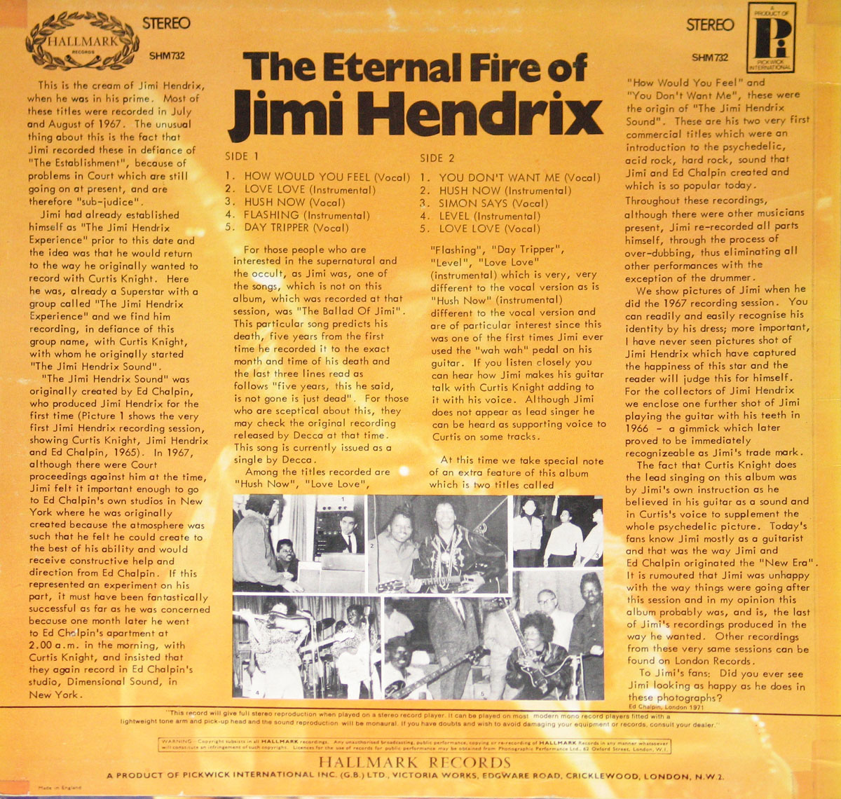 Extensive Liner notes on the history of Jimi Hendrix working for Curtis Knight