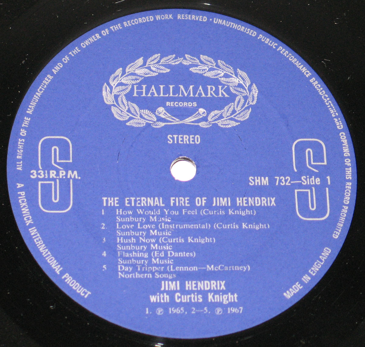 "Enlarged High Resolution Photo of the Record's Blue ""Hallmark Records"" Label"